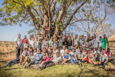 The Greenpop team and volunteers at Sons of Thunder cooperative farm in Livingstone where Faidherbia albida and Orange trees were planted as well as starting a small food forest project.