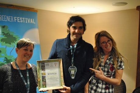 Artur Mendes from Boom Festival collects their Award - Outstanding!