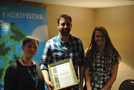 Rob Scully from Glastonbury collects up their Highly Commended Award from Helen and Claire
